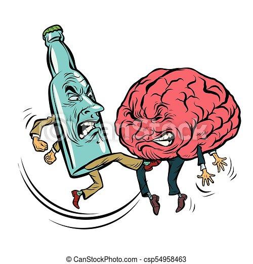 alcoholism destroys the brain drunk fight bottle of vodka clip rh canstockphoto com drink clip art pictures drunk clipart