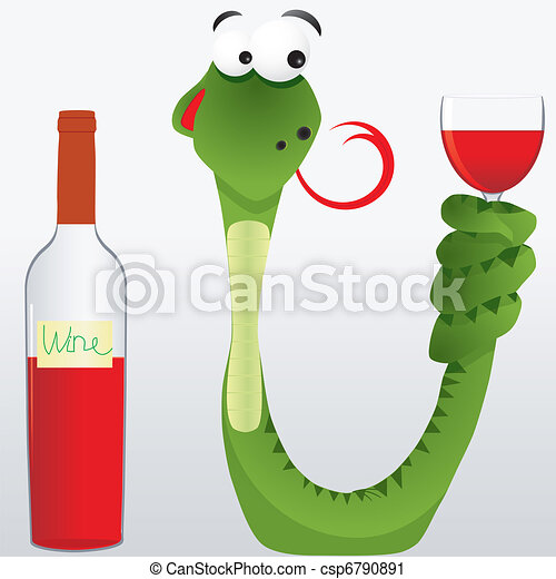 alcool, anticipation, gobelet, ivre, queue, illustration, léché, vecteur, serpent, garde, sien, vin - csp6790891