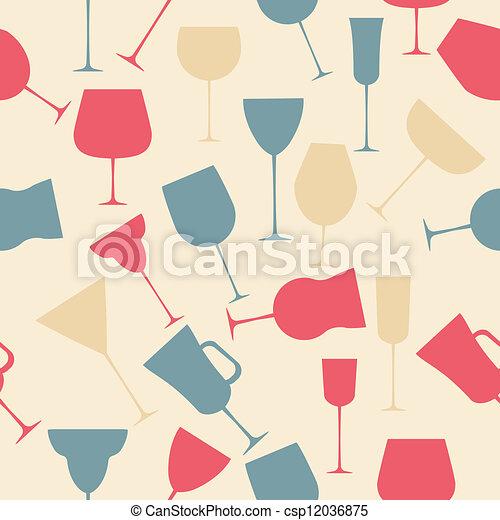 alcoolique, modèle, seamless, verre., retro, fond - csp12036875