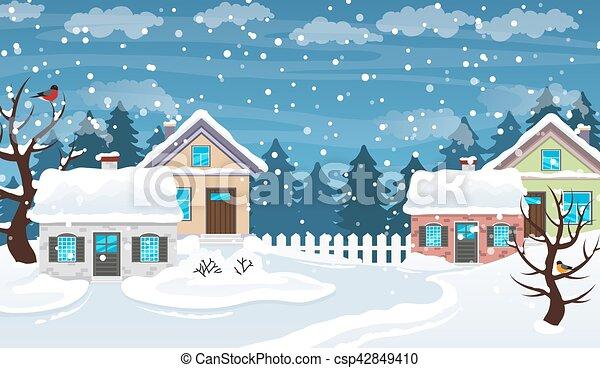 La escena de Winter Village - csp42849410