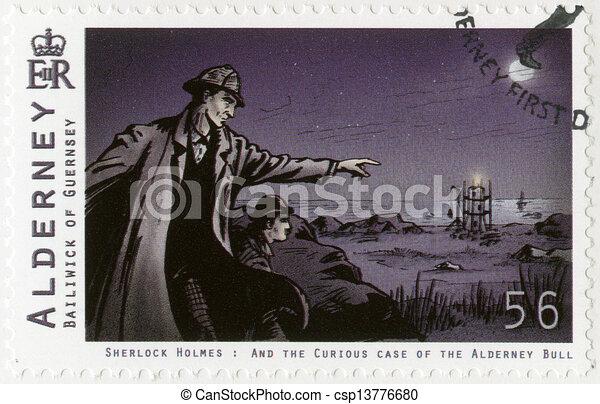 ALDERNEY - 2009: shows Sherlock Holmes - csp13776680