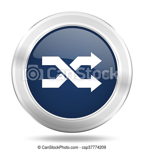 aleatory icon, dark blue round metallic internet button, web and mobile app illustration - csp37774209