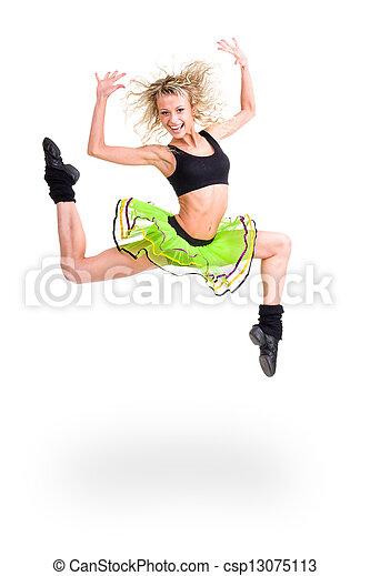 Mujer en forma saltando de alegría - csp13075113