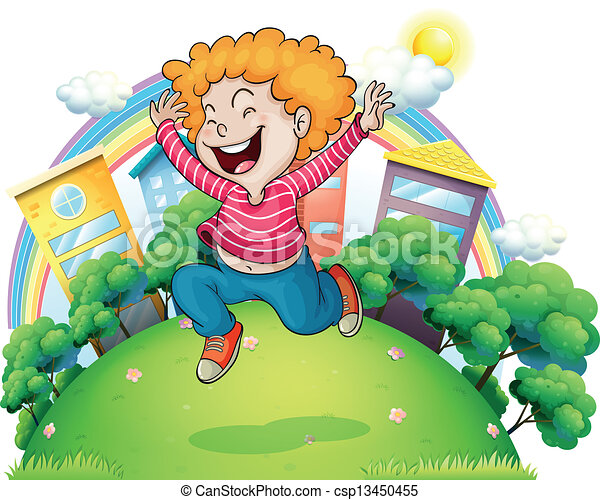 Un joven caballero saltando de alegría en la colina - csp13450455