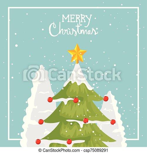 alegre, árbol, pino, cartel, navidad - csp75089291