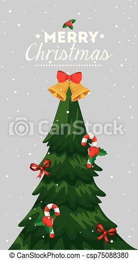 alegre, árbol, pino, cartel, navidad - csp75088380
