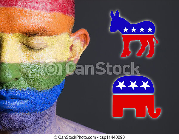 alegre, cara, demócrata, símbolos, bandera, republicano - csp11440290