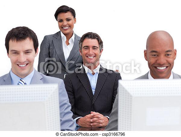 alegre, computadores, trabalhando, pessoas negócio - csp3166796