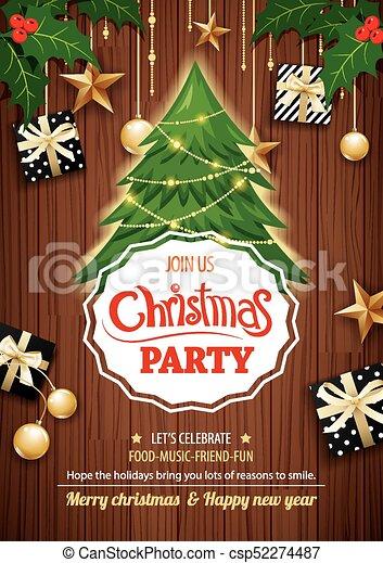 Feliz Fiesta De Navidad Y árbol Sobre El Tema De Invitación