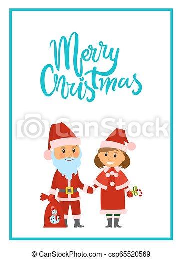 Feliz Navidad poster Santa Claus y doncella de nieve - csp65520569