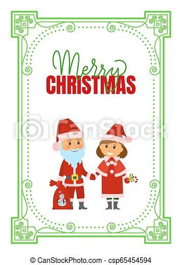 Feliz Navidad poster Santa Claus y doncella de nieve - csp65454594