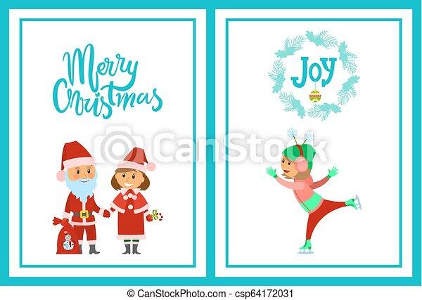 Feliz Navidad poster Santa Claus y doncella de nieve - csp64172031