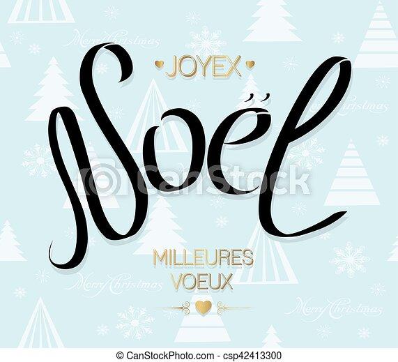 Feliz tarjeta de Navidad con saludos en francés. Joyeux noel. Noel caligrafía de texto para diseño de vacaciones. Ilustración de vectores - csp42413300