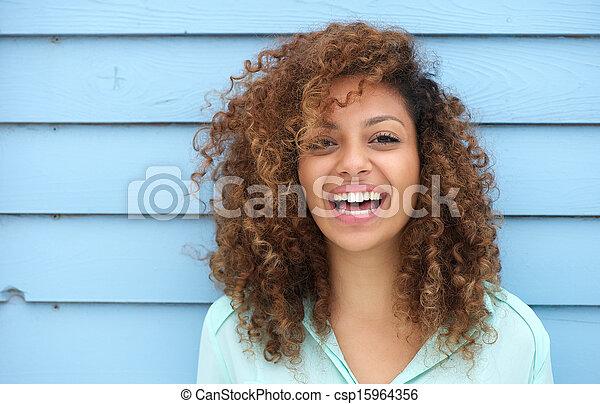 alegre, mulher sorridente, jovem, africano - csp15964356