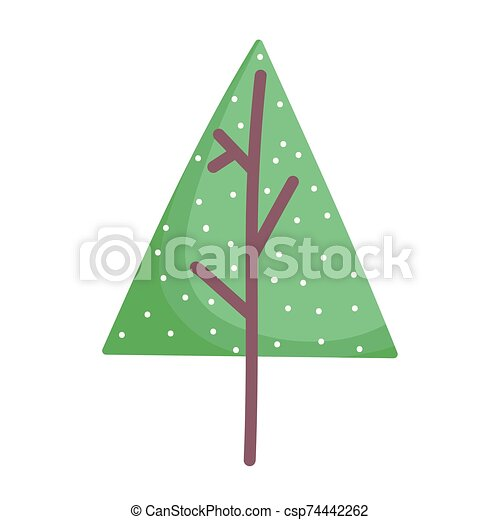 alegre, nieve, árbol, navidad, pino, decoración, icono - csp74442262