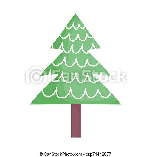 alegre, nieve, árbol, navidad, pino, decoración, icono - csp74442877