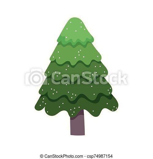 alegre, nieve, pino, árbol de navidad, celebración - csp74987154