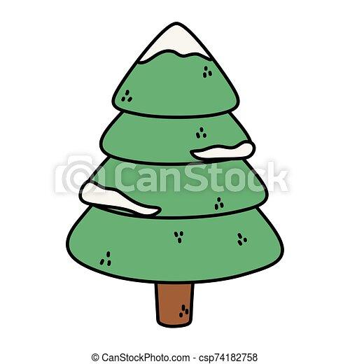 alegre, pino, nieve, decoración de navidad, árbol - csp74182758