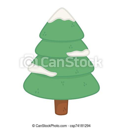 alegre, pino, nieve, decoración de navidad, árbol - csp74181294