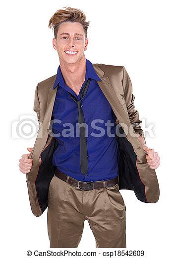 alegre, retrato, sorrindo, homem jovem - csp18542609