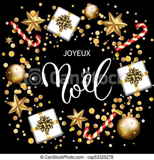 Feliz Navidad francesa. Tarjeta de felicitación con regalos - csp53325278