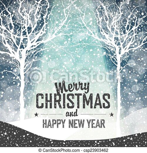 Nieve cayendo. Feliz fondo navideño con texto - csp23903462