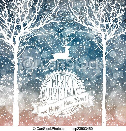 Nieve cayendo. Feliz fondo navideño con texto - csp23903450
