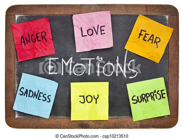 alegria, medo, tristeza, amor, raiva, surpresa - csp10213510