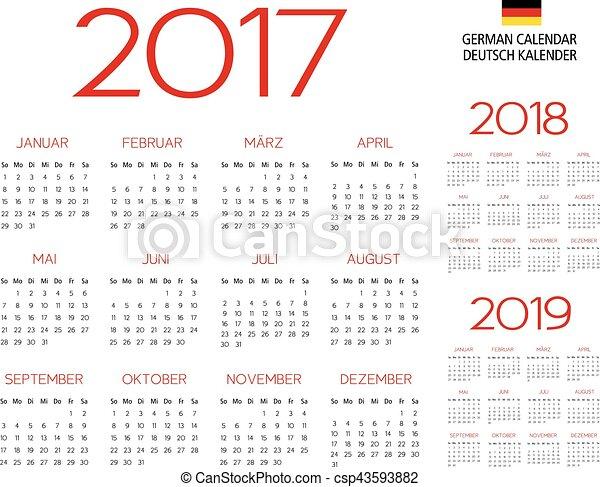 Calendario alemán 2017-2018-2019 plantilla - csp43593882