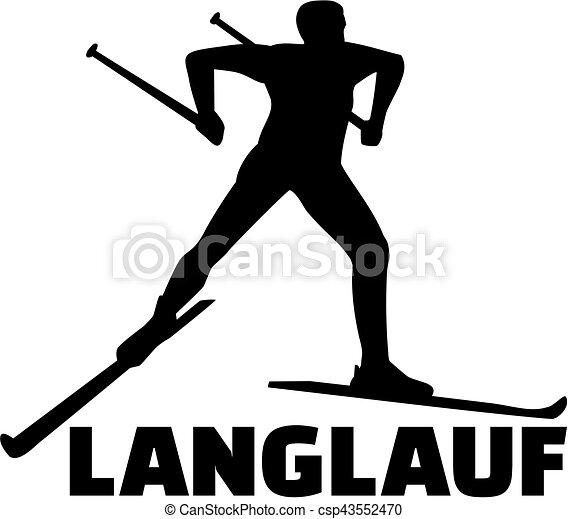 A esquiar en el campo. Palabra alemana - csp43552470
