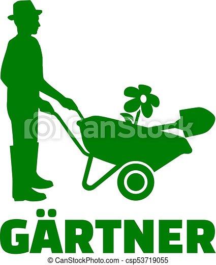 Alem n silueta jardinero carretilla silueta t tulo for Trabajo jardinero