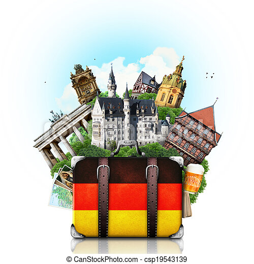 alemán, viaje, alemania, señales - csp19543139