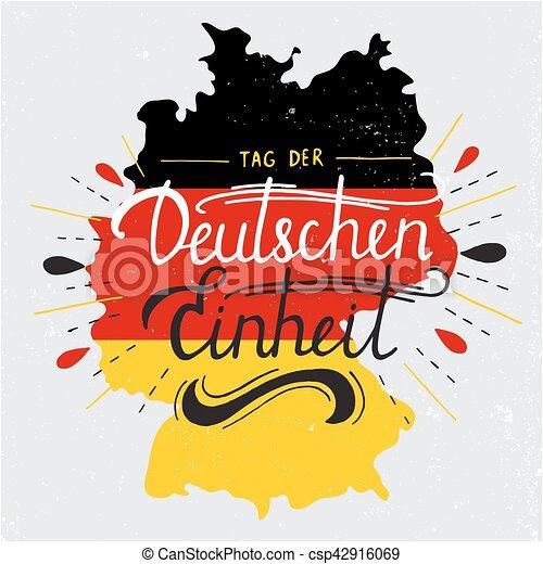 alemão, der, einheit., unidade, tag, deutschen, lettering., dia - csp42916069