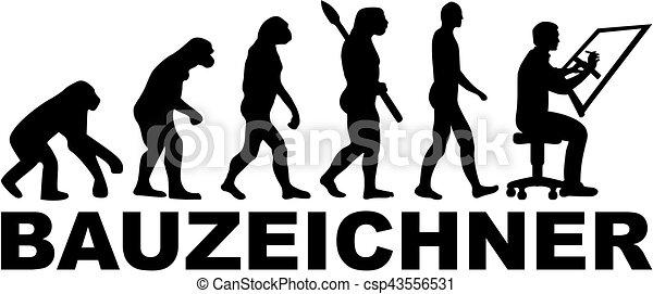alemão, desenhador, evolução, trabalho, título - csp43556531