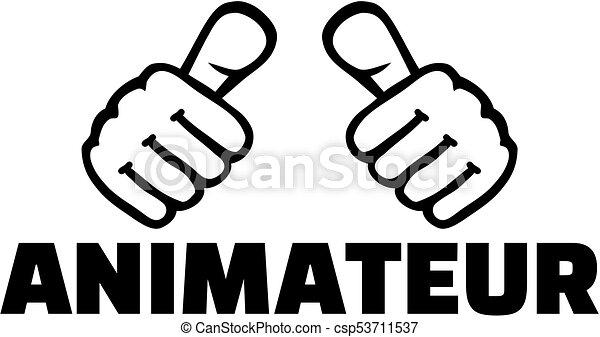 alemão, trabalho, animator, polegares, título - csp53711537