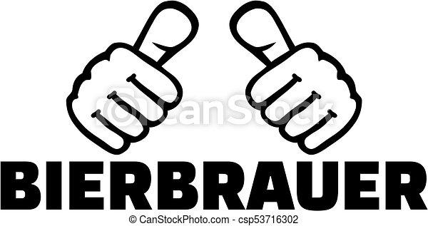 alemão, trabalho, cervejeiro, polegares, título - csp53716302