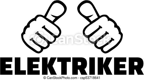 alemão, trabalho, eletricista, polegares, título - csp53718641