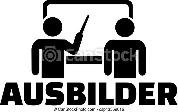 alemão, trabalho, instrutor, ícone, título - csp43569016