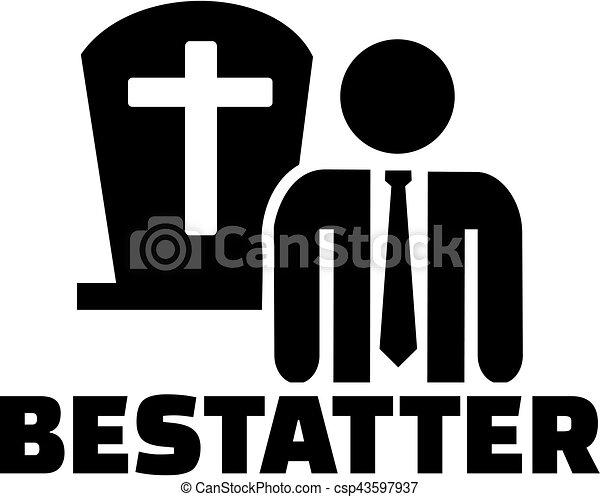 alemão, trabalho, mortician, ícone, título - csp43597937