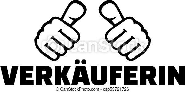 alemão, trabalho, saleswoman, polegares, título - csp53721726