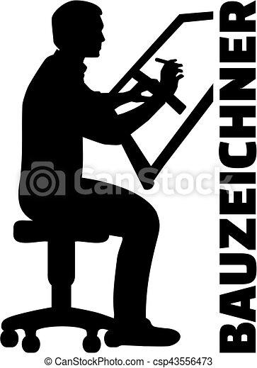 alemão, trabalho, silueta, desenhador, título - csp43556473