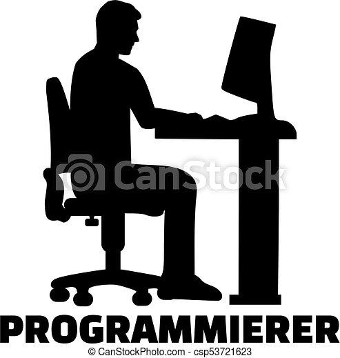 alemão, trabalho, silueta, programador, título - csp53721623