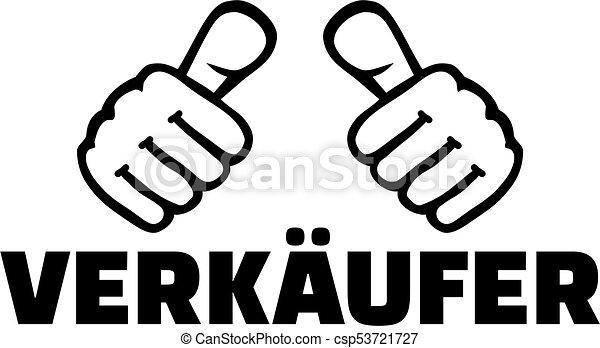 alemão, trabalho, vendedor, polegares, título - csp53721727