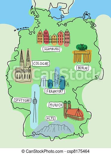 Alemania Doodle Mapa Con Lugares Famosos Berlin Hamburgo
