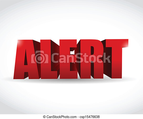 alert 3d text sign illustration design - csp15476638