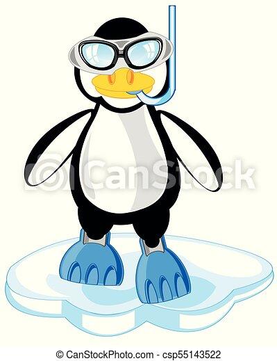 Caricatura del pingüino con máscara y aleta - csp55143522