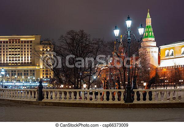 Alexander garden Moscow, Russia. Corner Arsenal tower. - csp66373009