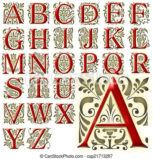 alfabet, alfabet, ontwerp, lettering - csp21713287