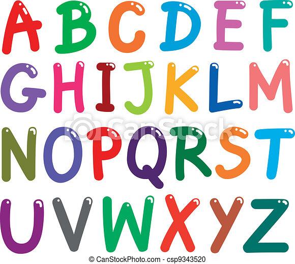alfabet, beletrystyka, barwny, kapitał - csp9343520