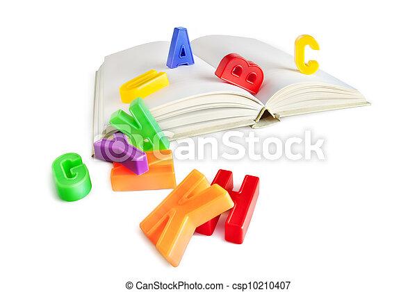 alfabet, boek, brieven, vrijstaand - csp10210407